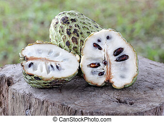 Custard Apple on wood