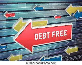 moving red arrow of debt free words on abstract high-tech...