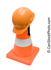 Road cone and helmet - Road warning cone and orange helmet...