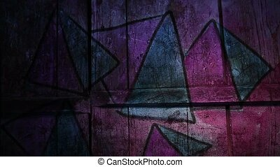 graffiti pyramid, triangle ornament night light moves along...
