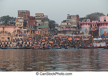 India: Varanasi, Ghats on the Ganges River - VARANASI, INDIA...
