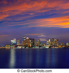 Boston skyline at sunset and river in Massachusetts - Boston...