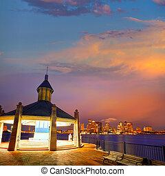 Boston skyline at sunset Piers Park Massachusetts - Boston...