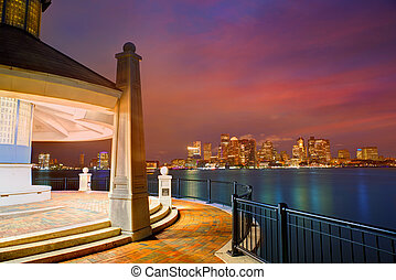 Boston skyline at sunset Piers Park Massachusetts - Boston...