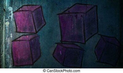 graffiti square, avant-garde, cube ornament night light...