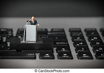 online conference concept-miniature speaker at Business...