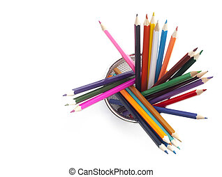 Colouring Pencils in a wire holder on a white background