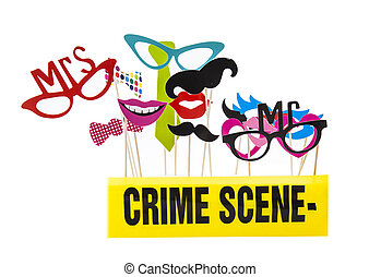 Photo Booth Props on a White Background with Crime Scene...