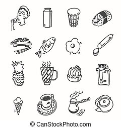 Morning breakfast lunch or dinner kitchen doodle hand drawn sketch rough simple icons