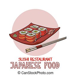 Japanese food cuisine roll sushi restaurant vector