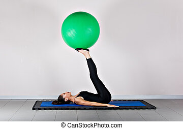 Gymnastics pilates - Control with ball position. Pilates...
