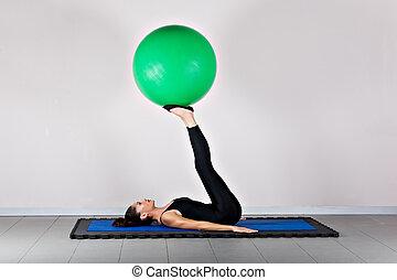 Gymnastics pilates - Control with ball position. Pilates...