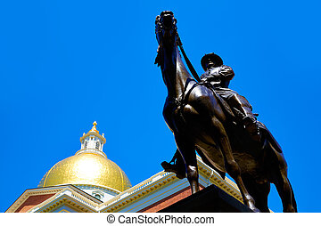Boston Massachusetts State House and Hooker monument in USA
