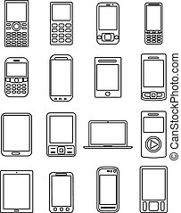 mobile devices icons set