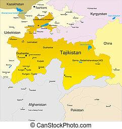 Tajikistan   - color map of Tajikistan  country