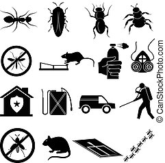 exterminator icons set in black