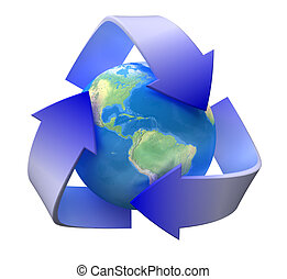 Recycle ecology - Image of 3d recycle sign with globe. White...