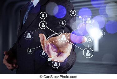 顯示, 現代, 流動, 圖表, 手, 人類, 商人, 新,  com, 圖象