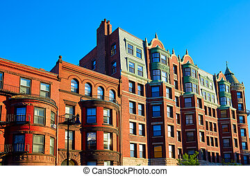 Boston Massachusetts brick wall buidings cityscape in USA