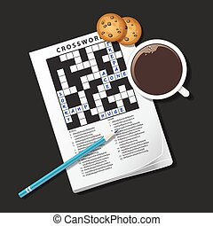 illustration of crossword game, mug of coffee and cookie -...