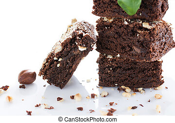 Brownies - Cocoa and chocolate brownies dessert with...