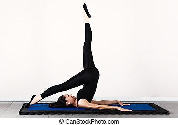 Gymnastics pilates - Balance control position, soft focus....