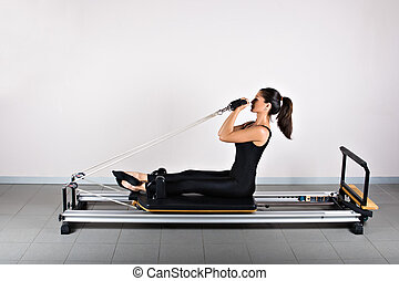 Gymnastics pilates - Bicep reformer position. Pilates...