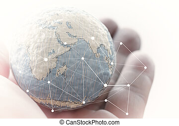 close up of businessman hand showing texture the world with digi