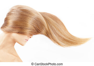 Hair - The female head closed by a fair hair, isolated