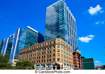 Boston Massachusetts downtown buidings cityscape in USA