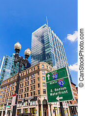 Boston in Massachusetts downtown buidings