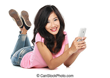 asian woman with handphone - Beautiful smiling woman with...