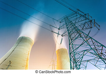 cooling towers at night - the cooling towers at night of the...