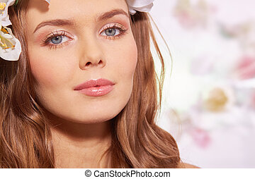 Feminine makeup - Sensual woman with beautiful makeup
