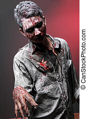 Zombie - portrait of a Zombie standing looking camera face...