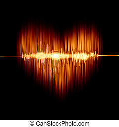 flaming heart with the sound wave on black