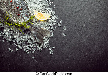 Fresh fish on crushed ice with dill