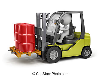 Forklift with a load - Forklift carrying barrels 3d image...