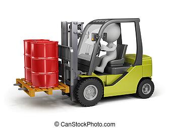 Forklift with a load - Forklift carrying barrels. 3d image....