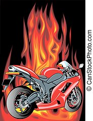 motorbike and fire background - red motorbike isolated on...