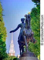 Boston Paul Revere Mall statue Massachusetts - Boston Paul...