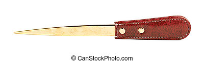 Red leather envelope knife isolated - Golden and red leather...