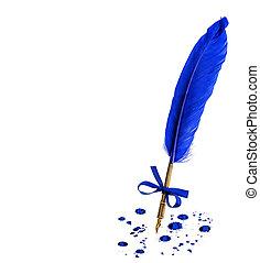 vendimia, pluma, pluma, con, tinta, manchas, aislado, en,...