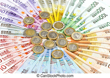 euro coins and banknotes. money background - euro coins and...