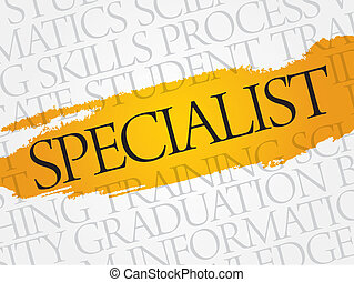 SPECIALIST word cloud, education business concept