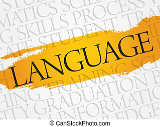 LANGUAGE word cloud, education business concept