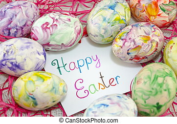 Happy Easter card with hand painted Easter eggs