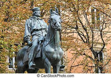 Equestrian statue of Giuseppe Garibaldi in Bologna. Italy