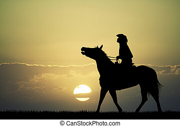 man on horse at sunset - illustration of man on horse at...