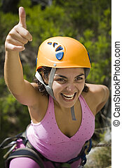 Sucess Rapel - Woman with the hand up happy by the sucess...